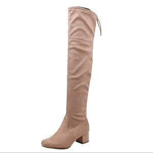 Shoes - Mauve over the knee mid heel back lace tie boot